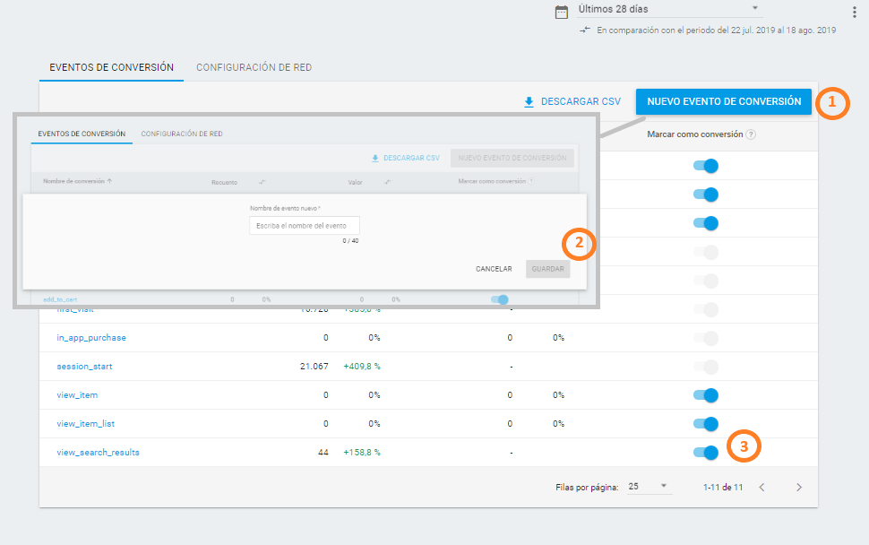 Conversiones en Analytics Web + App
