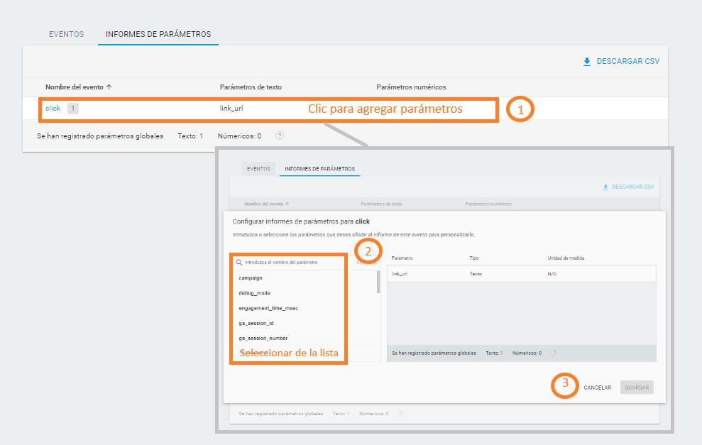 Incluir nuevos parámetros en Analytics Web + App