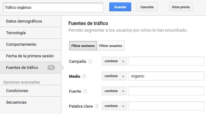 Google Analytics: Segmento de tráfico orgánico