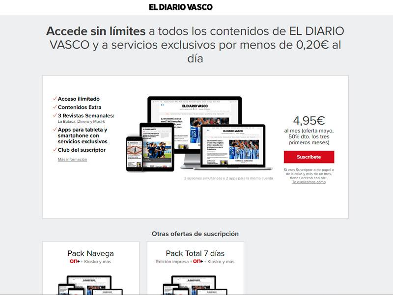 Modelo de suscripción dewww.diariovasco.com