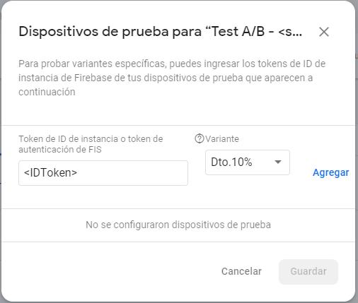 Pruebas en experimentos con ID token de A/B Testing