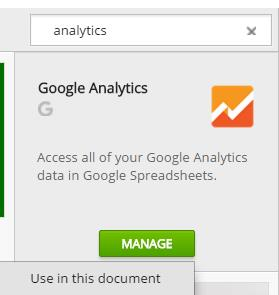 Google Analytics add-on for Google Spreadsheets
