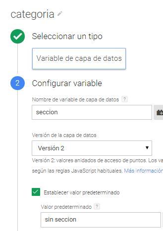 Variable de dataLayer Tag Manager: Categoría
