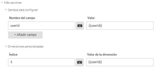 User ID en Dimensión y Campos para configurar de Google Tag Manager