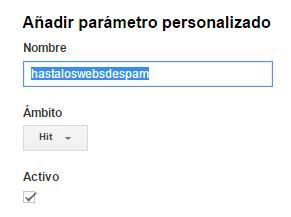 Dimensión Personalizada AntiSpam en Google Analytics