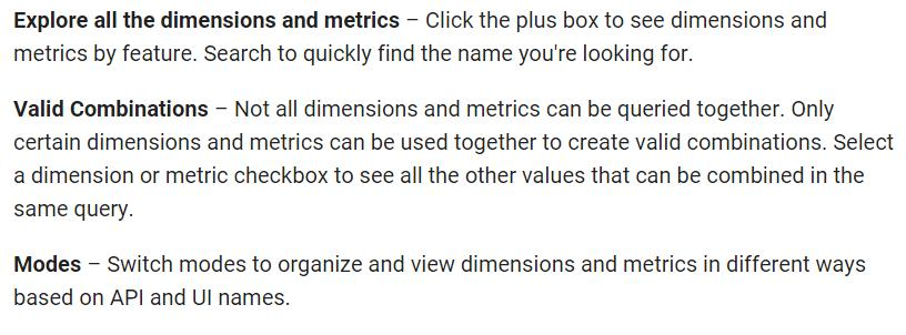 Analytics dimensions metrics reference