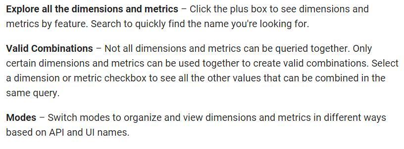Analytics dimensions metrics reference
