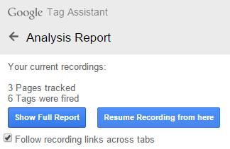Analytics Report Tag Assistant Recordings