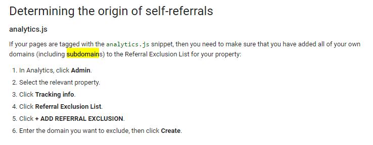 Analytics self referral problem