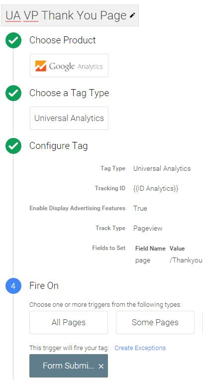 Analytics tag virtual thankyou page tag manager