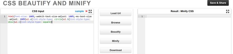 Descomprime archivo CSS con Beautify