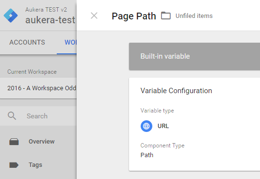 GTM built-in variable view