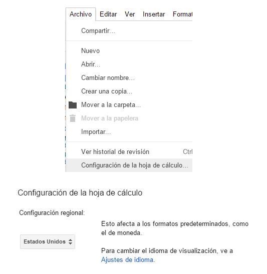 Cambiar idioma hoja de cálculo Google Drive