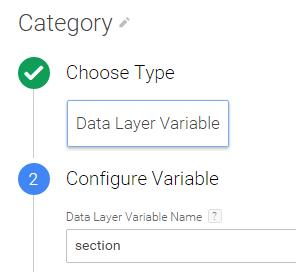 Category section datalayer variable GTM