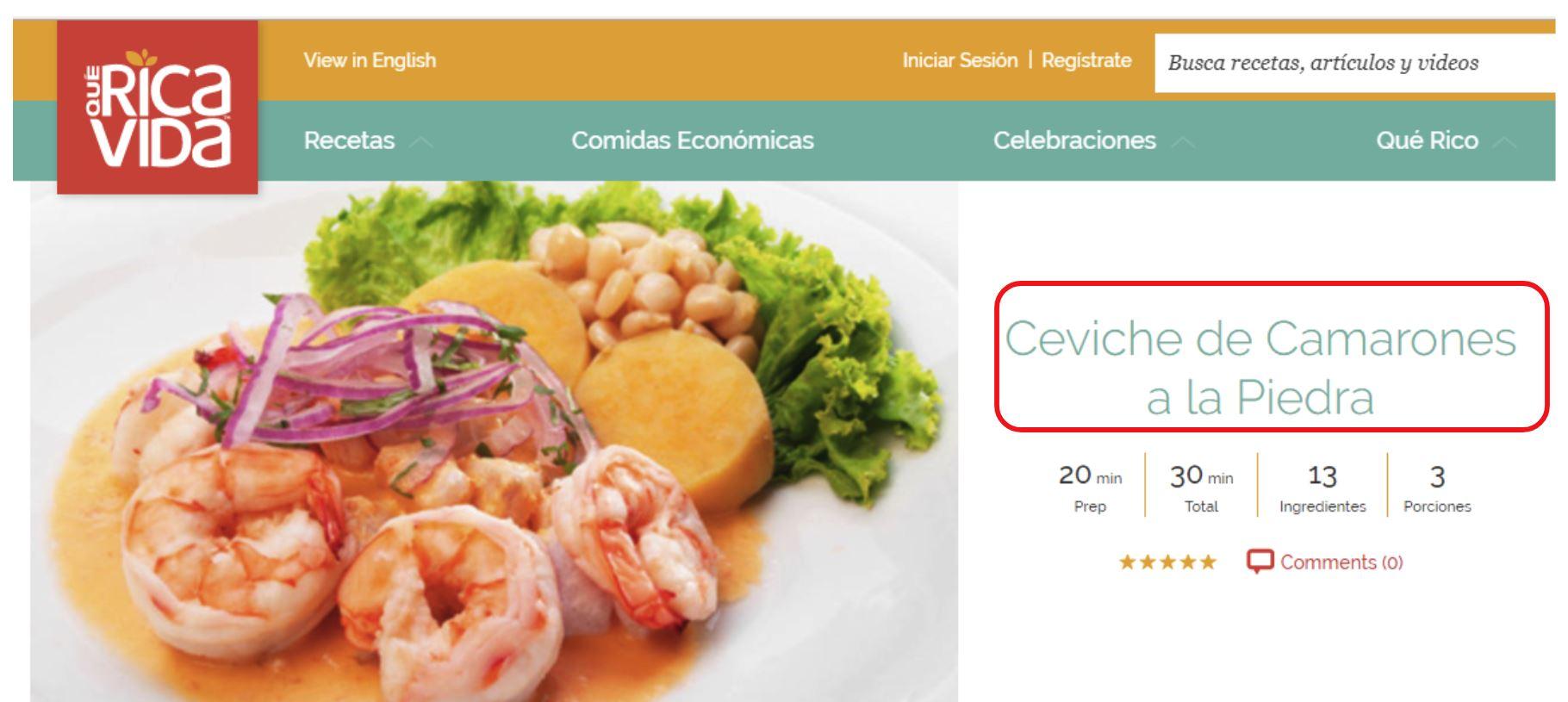 ceviche peruano camaron contexto contenido