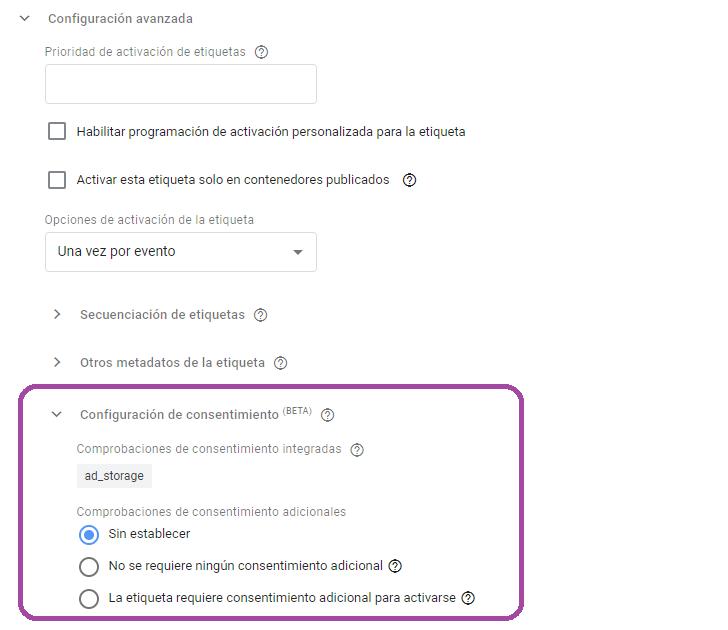 configuracion de consentimiento en etiqueta