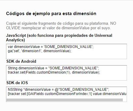 Código Dimensión Personalizada en Google Analytics