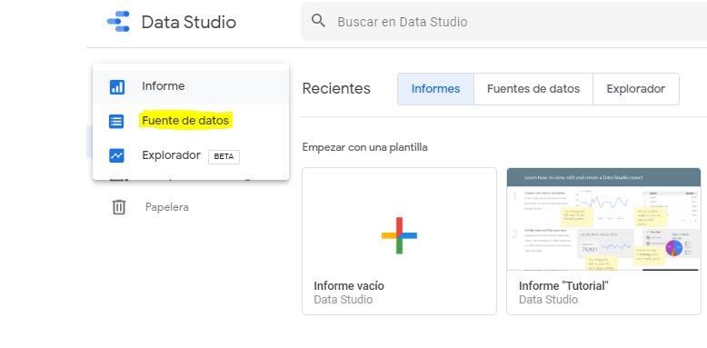 Conectar fuentes de datos con data studio