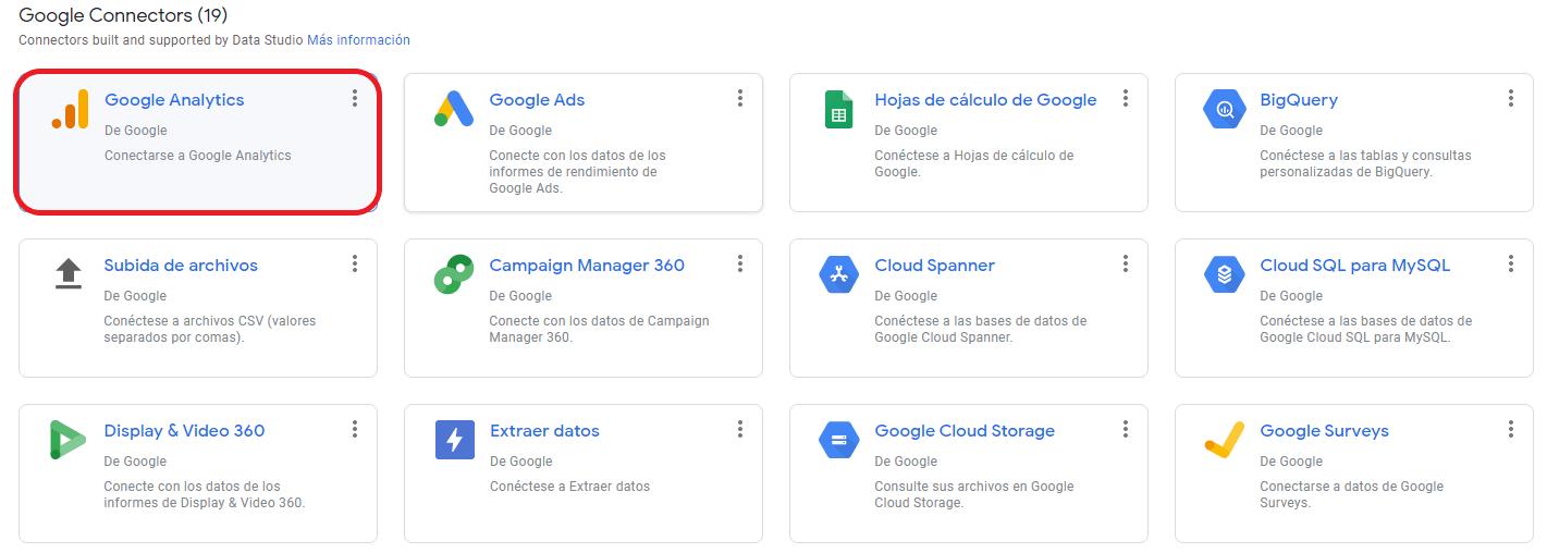 Conectores de Google Data Studio