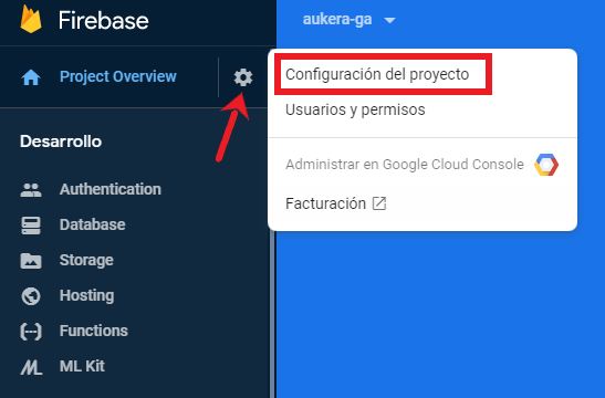 Configuración del proyecto en Firebase