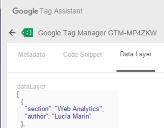 Custom dimensions datalayer tag assistant