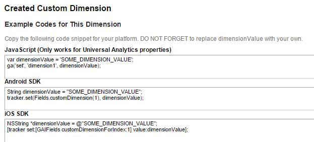 Custom dimensions Google Analytics code