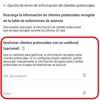 Gestión de clientes potenciales con un webhook en Google Ads