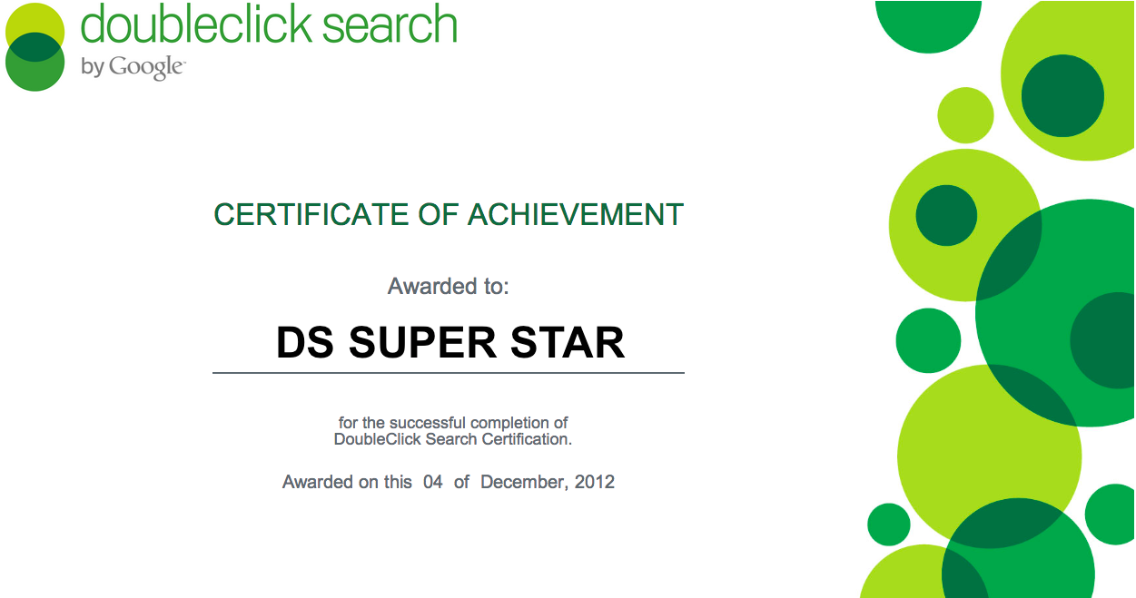 Doubleclick Search Certificate