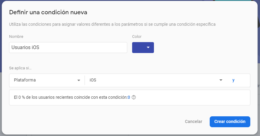 Creación de condiciones de dispositivos iOS en Remote Config