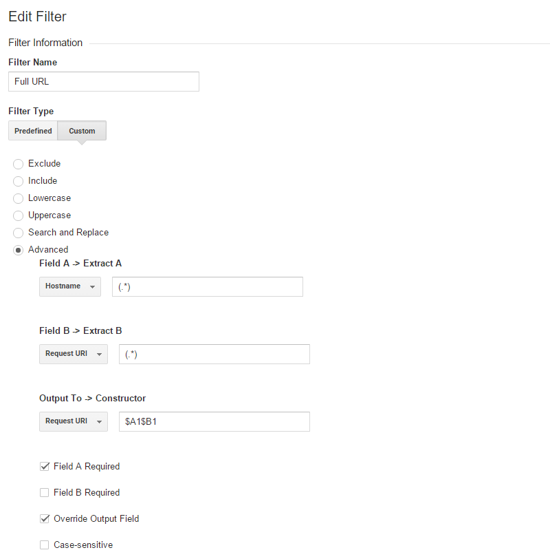 Google Analytics filter for viewing the full URL