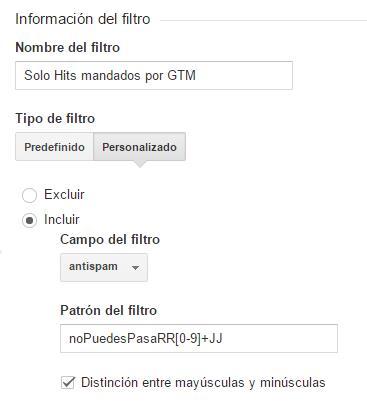 Filtro AntiSpam Google Analytics: vía dimensión personalizada