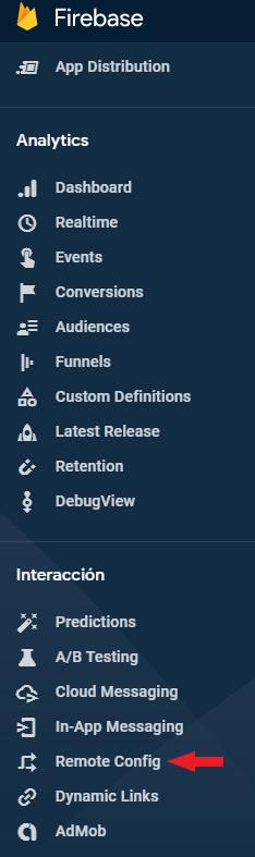 Remote Config en la sección de interacción de Firebase