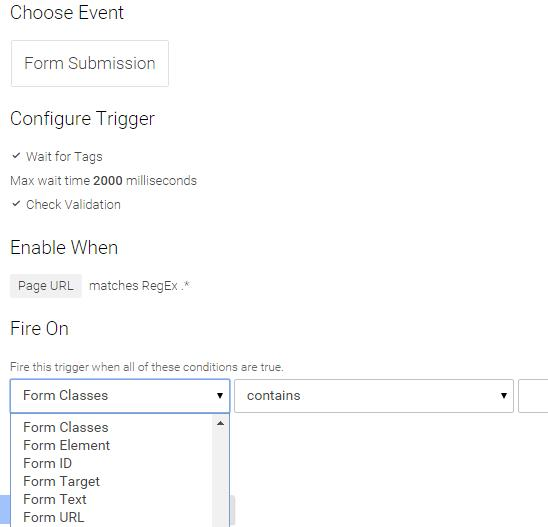 Form triggers google tag manager
