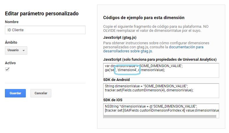 Dimension personalizada Client ID