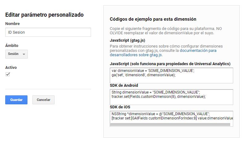 Dimension personalizada Session ID