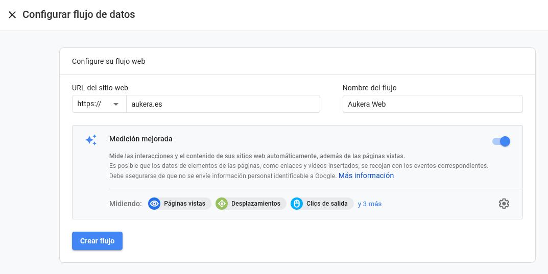 Dar de alta un flujo de datos en Google Analytics Web + App