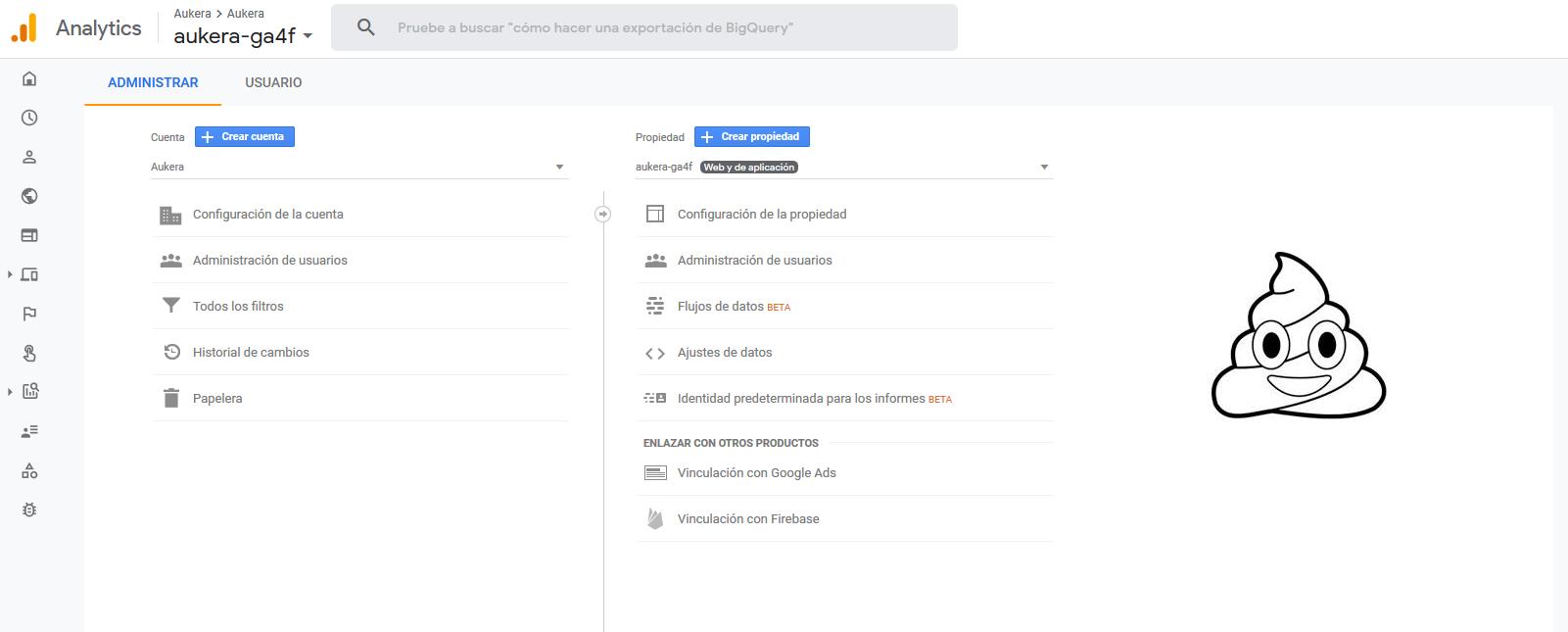 Sin vistas en la nueva propiedad Web + App de Google Analytics.