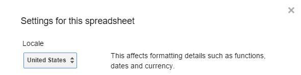 Google Spreadsheet decimal setting