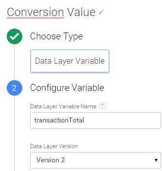 GTM adwords conversion value