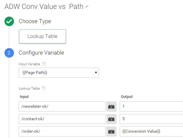 GTM Adwords value lookup table