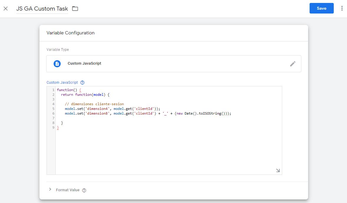 Ejemplo variable customTask