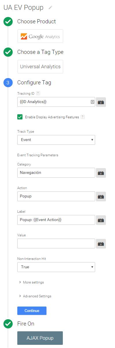 etiqueta evento popup