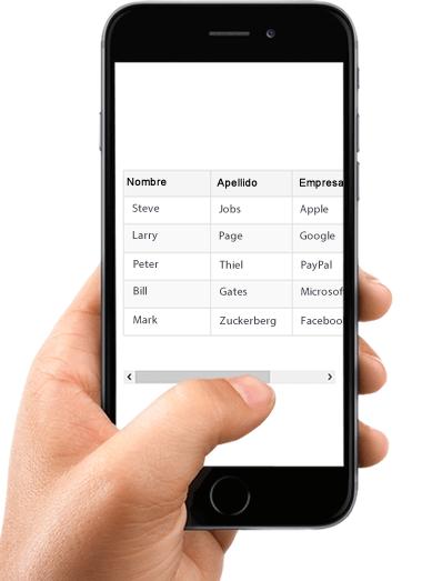 Tabla HTML scroll horizontal