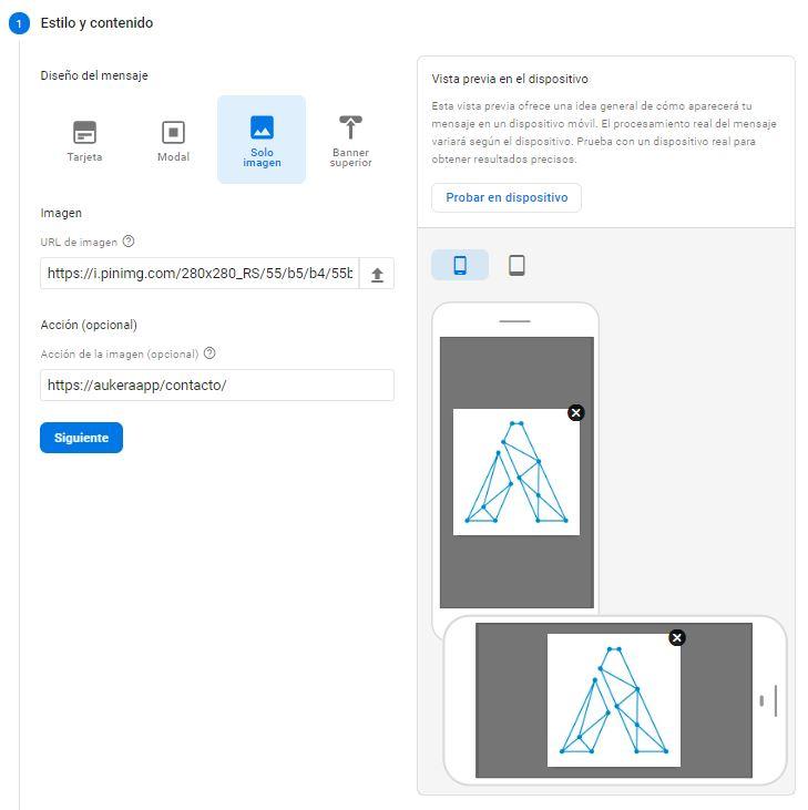 Plantilla solo imagen en In-App Messaging