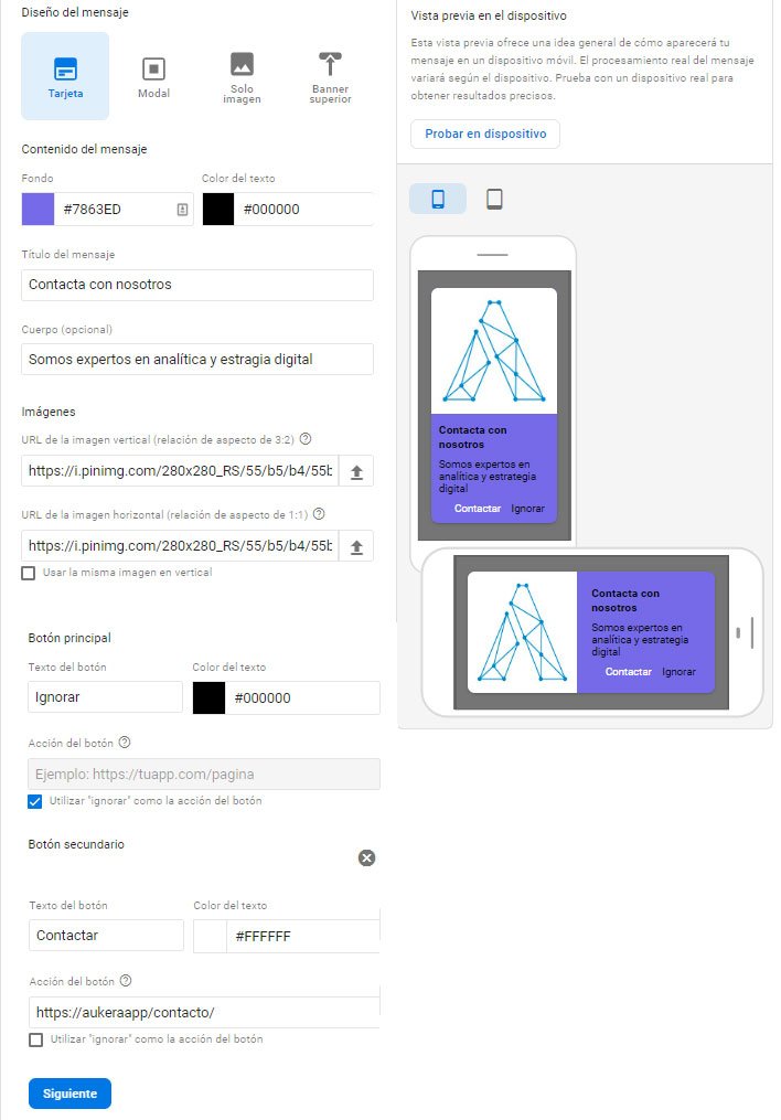 Plantilla de tarjeta en In-App Messaging