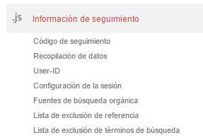 Configuración de informacion de seguimiento en Google Analytics