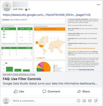 Compartir informes de Data Studio en RRSS