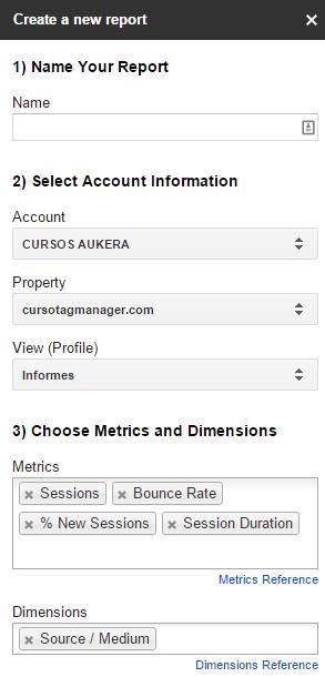 Configuración de informes con la API de Google Analytics
