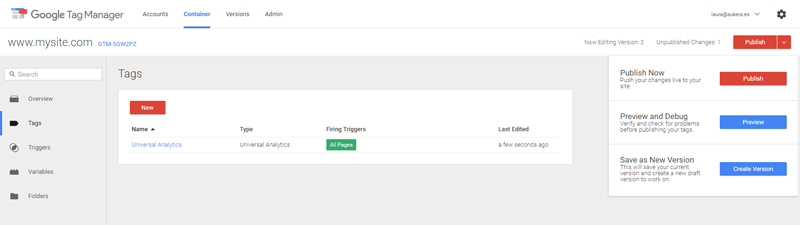 Installing Analytics in Google Tag Manager 3