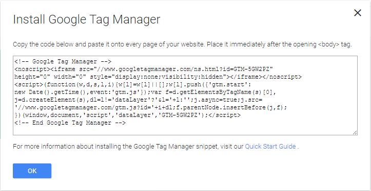 Installing Google Tag Manager 3